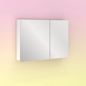Camerino con espejo MIDORI 88 cm de 2 puertas y dos estanterías en Blanco Brillo