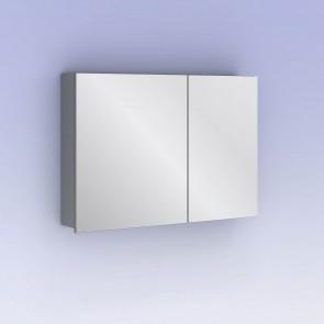 Camerino con espejo MIDORI 88 cm de 2 puertas y dos estanterías en Gris metálico