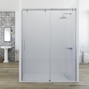 Mampara MIRIEL CORAL de Seviban. Frontal de ducha hasta 200 cm. 1 hoja fija mas 1 hoja corredera