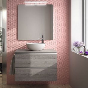 Mueble de baño SPIRIT Salgar suspendido 80 cm natural con LAVABO 22804
