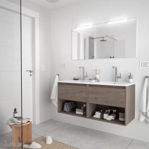 Mueble de baño NOJA Salgar 120 cm con LAVABO Roble Eternity
