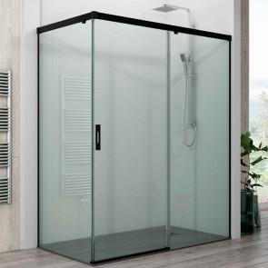 Mampara de ducha angular PACIFICO GlassInox. Frontal de puerta corredera mas Fijo lateral