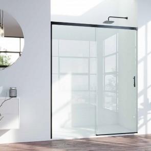 Mampara de ducha PANAMA GlassInox. Frente fijo más puerta corredera.