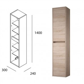 Mueble auxiliar baño NOJA/ARENYS  Salgar pared 140 cm roble caledonia 85174