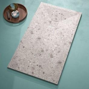 Plato de ducha resina TERRAZO GRIS de DUPLACH de carga mineral y gel coat