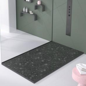 Plato de ducha resina TERRAZO NEGRO de DUPLACH de carga mineral y gel coat