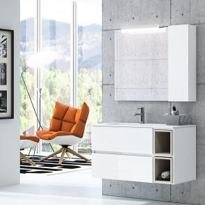 Mueble de baño MODULAR FUSSION LINE Salgar 2 cajones de 105 cm (80+25) con LAVABO desplazado