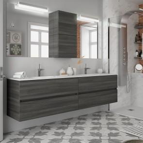 Mueble de baño MODULAR FUSSION LINE Salgar 4 cajones de 200 cm (100+100) con LAVABO doble