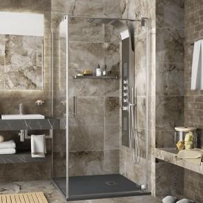 Mampara de ducha angular MALMO cromo corredera de Salgar apertura esquina
