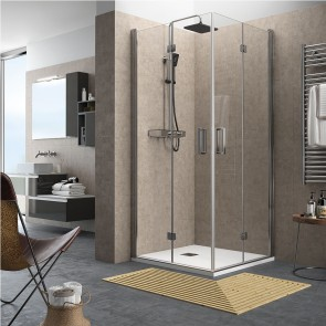 Mampara de ducha angular ODENSE cromo abatible se Salgar apertura esquina