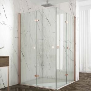 Mampara de ducha angular ALAMEDA GlassInox. Angular 4 hojas plegables