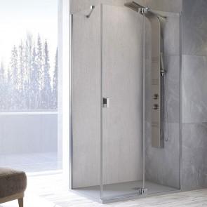 Mampara de ducha angular SULA SL603 413 de Kassandra. Frente con puerta abatible mas fijo lateral.