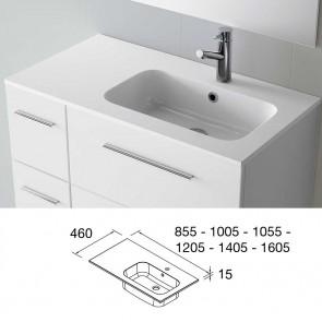 Lavabo carga mineral SOFIA 1405 Encimera a la Izquierda MineralMarmo color blanco 24806