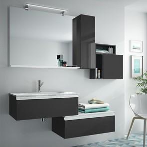 Mueble de baño SPIRIT Salgar suspendido 140 cm Gris Brillo con LAVABO