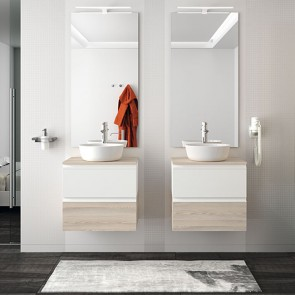 Mueble de baño SPIRIT Salgar suspendido 60 cm Blanco Brillo y Natural con LAVABO