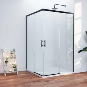 Mampara de ducha SUEZ GlassInox. Apertura esquina. Fijos con puertas correderas. Negro mate