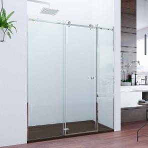 Mampara de ducha acero INOX frontal de ducha corredera ASTURIAS. Puerta corredera y dos fijos. A MEDIDA.