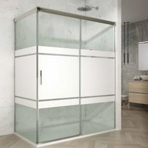 Mampara de ducha angular SUPERIOR GlassInox. Frontal de puerta corredera mas Fijo lateral.