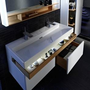 Detalle interior cajones mueble de baño TERRACE de 120 cm color Blanco brillo