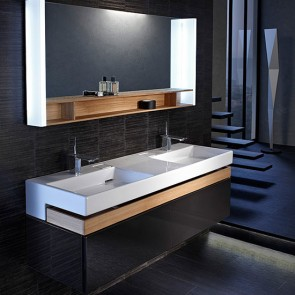 Mueble de baño TERRACE con lavabo de 150 cm color Negro Brillo