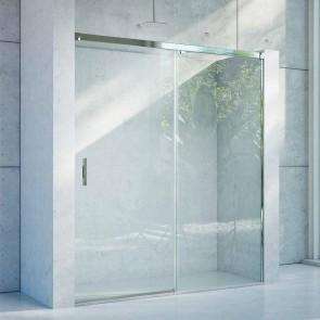 Mampara acero INOX frontal de ducha corredera TIMOR GlassInox. Frente fijo más puerta corredera