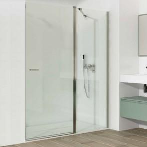 Mampara de ducha frontal TINTO GlassInox. Frente fijo más puerta abatible