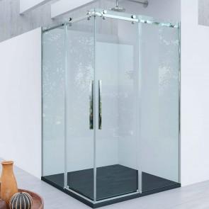 Mampara acero INOX y aluminio angular corredera TIZZIANO GlassInox. Apertura esquina. Fijos con puertas correderas. A MEDIDA.