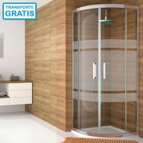 Mampara de ducha semicircular 300 TR130 de Kassandra acabado Bali. Dos puertas correderas.