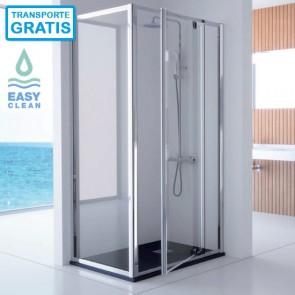 Mampara de ducha frontal 300 TR503 TR513 de Kassandra. Frente fijo más puerta batiente y lateral fijo