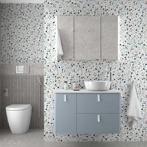 Mueble de baño UNIIQ Salgar 90 cm con LAVABO Sobrencimera BLUE FOG
