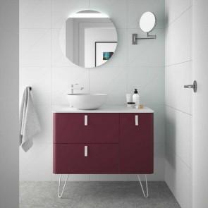 Mueble de baño UNIIQ Salgar 90 cm con LAVABO Sobrencimera GRANATE