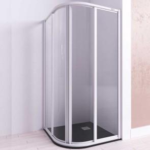 Mampara de ducha semicircular URANO de Seviban. Dos puertas correderas