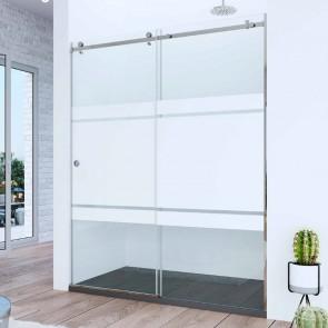 Mampara de ducha acero INOX frontal de ducha corredera SANTANDER. Frente fijo más puerta corredera. A MEDIDA.