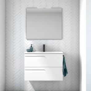 Mueble de baño VITALE Royo con 2 cajones. De 80 cm Blanco Brillo