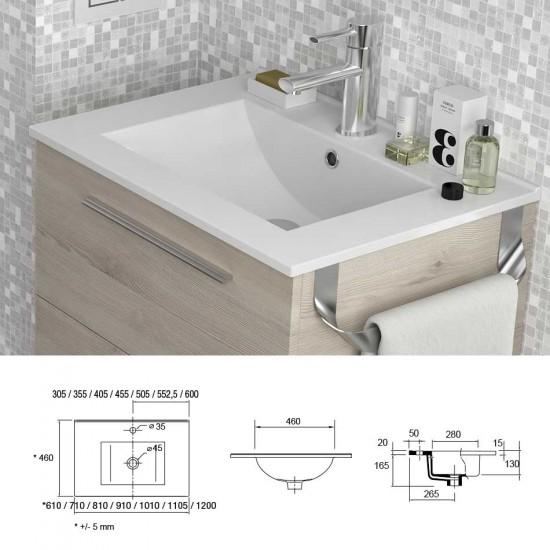 Mueble De Baño Spirit Salgar Suspendido 60 Cm 2 Modulos Bicolor Con Lavabo