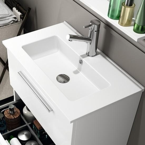 Mueble de ba o serie 35 salgar 60 cm blanco brillo con - Mueble de bano con lavabo ...