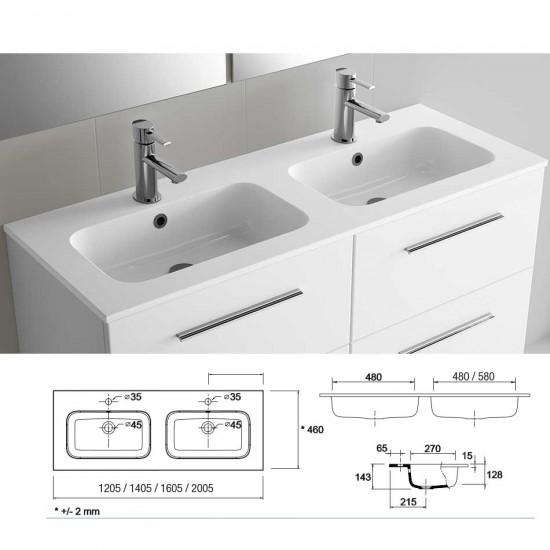 Mueble de ba o spirit salgar susp 120 pino bah a lavabo for Lavabo sofia
